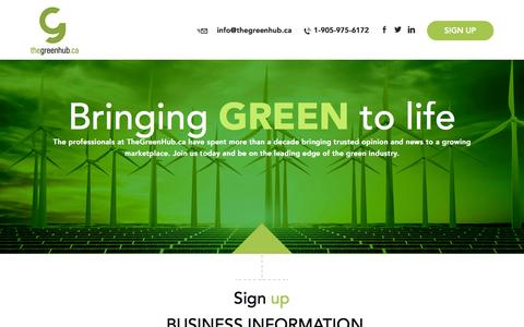 Screenshot of Signup Page thegreenhub.ca - Your Canadian source for all things green... news, information, business, lifestyle, opinion and trends. - captured Dec. 2, 2016