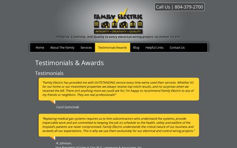 Screenshot of Testimonials Page familyelectric.net - Testimonials & Awards | Richmond, VA | Family Electric - captured Oct. 10, 2018