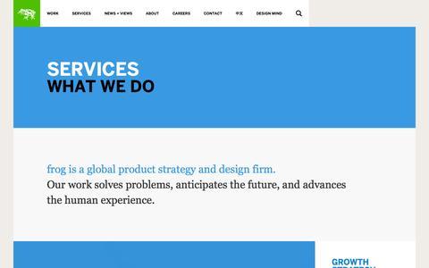 Screenshot of Services Page frogdesign.com - Services | frog - captured Sept. 25, 2014