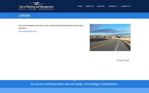 Screenshot of Jobs Page sierraplan.com - Careers - Sierra Planning and Management - captured Feb. 14, 2016