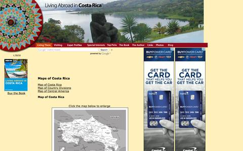 Screenshot of Maps & Directions Page livingabroadincostarica.com - Maps of Costa Rica - captured July 15, 2016