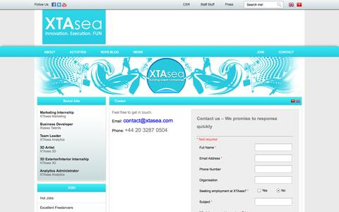 Screenshot of Contact Page xtasea.com - Contact   Xtasea - captured Sept. 30, 2014