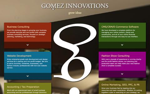 Screenshot of Home Page gomezinnovations.com - Tampa Bay Business and Technology Consulting | Gomez Innovations - captured July 5, 2018