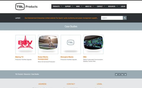 Screenshot of Case Studies Page tslproducts.com - Case Studies - TSL Products - captured Nov. 5, 2014
