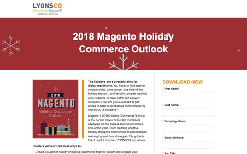Screenshot of Landing Page lyonscg.com - 2018 Magento Holiday Guide - captured Sept. 19, 2018