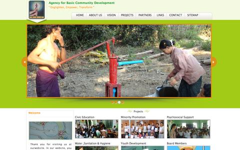 Screenshot of Home Page abcmm.org - Agency for Basic Community Development - captured Feb. 5, 2016