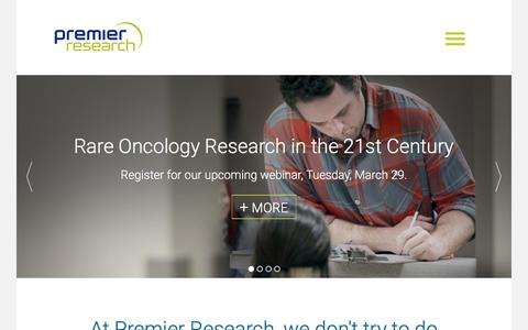 Screenshot of Home Page premier-research.com - Premier Research - captured March 4, 2016