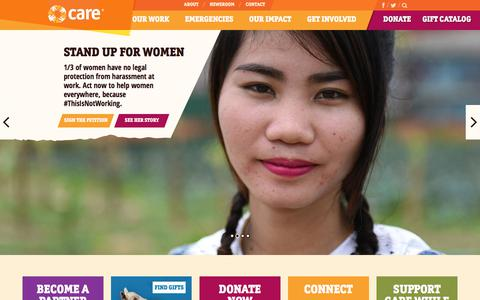 Screenshot of Home Page care.org - Fighting Poverty & World Hunger | CARE - captured Aug. 6, 2018
