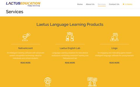Screenshot of Services Page laetuseducation.com - Products Archive - Laetus Education - captured Sept. 26, 2018