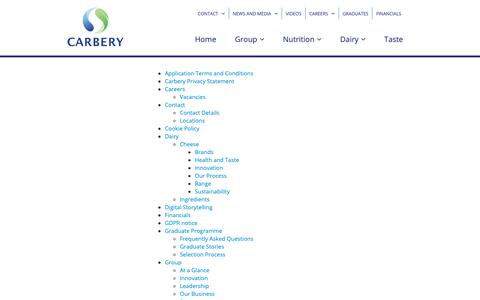 Screenshot of Site Map Page carbery.com - Carbery Group website map - captured Sept. 27, 2018