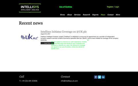 Screenshot of Press Page intellisys.uk.com - News  Intellisys  Intellisys Intelligent Analysis  Equity Research  UK - captured Oct. 15, 2017