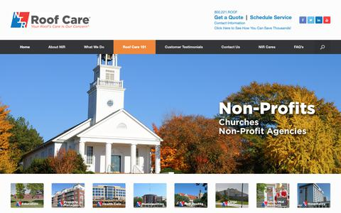 Screenshot of Home Page nir.com - Commercial Roof Care Plans for Commercial Roofs Nationwide - captured Oct. 18, 2018