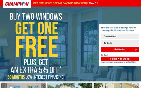 Screenshot of Landing Page championwindow.com - GET EXCLUSIVE SPRING SAVINGS NOW UNTIL APRIL 15! - captured Sept. 19, 2018