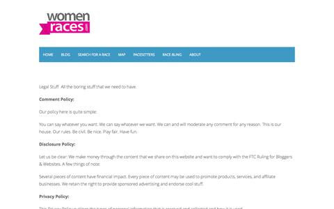 Screenshot of Privacy Page womenraces.com - Women RacesLegal Stuff » Women Races - captured Oct. 9, 2014