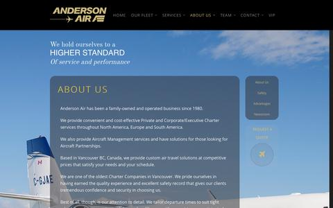 Screenshot of About Page andersonair.ca - About Us   Anderson Air - captured Oct. 4, 2014