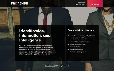 Screenshot of Home Page prior2hire.ca - Prior 2 Hire - captured Nov. 27, 2018