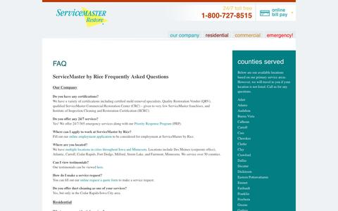 Screenshot of FAQ Page servicemasterbyrice.com - ServiceMaster by Rice FAQ - Restoration & Disaster Recovery - captured June 19, 2017