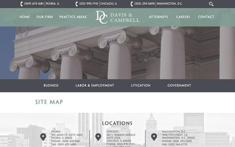 Screenshot of Site Map Page dcamplaw.com - Site Map - Davis & Campbell - captured Oct. 7, 2018