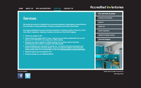 Screenshot of Services Page accreditedinventories.co.uk - Services | Inventory Bristol, Inventories Bristol | Accredited Inventories Bristol - captured Sept. 30, 2014