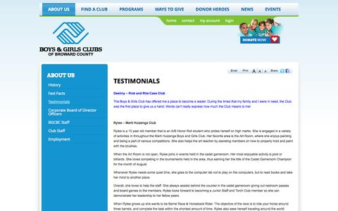 Screenshot of Testimonials Page bgcbc.org - Testimonials | Boys and Girls Clubs of Broward County - captured Oct. 5, 2014