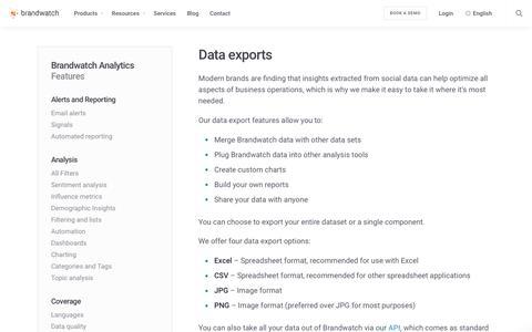 Data exports | Brandwatch