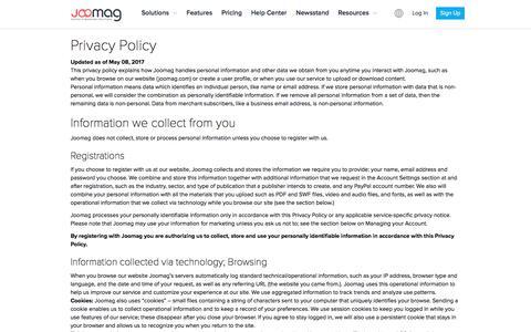 Screenshot of Privacy Page joomag.com - Joomag Privacy Statement - captured Jan. 5, 2018