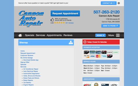 Screenshot of Site Map Page cannonautorepair.com - Sitemap | Cannon Auto Repair - captured July 15, 2018