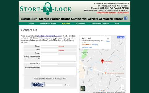 Screenshot of Contact Page Maps & Directions Page storenlockofeldersburg.com - Contact Store-n-Lock of Eldersburg Secure Self Storage - captured July 3, 2018