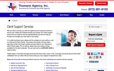 Screenshot of Support Page thumannagency.com - Thumann Agency | Client Support Services Dallas, Texas. - captured Oct. 9, 2017