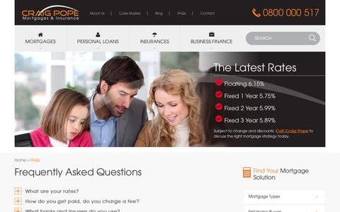 Screenshot of FAQ Page craigpope.co.nz - Mortgages and Insurance Wellington – Craig Pope FAQs - captured Oct. 3, 2014