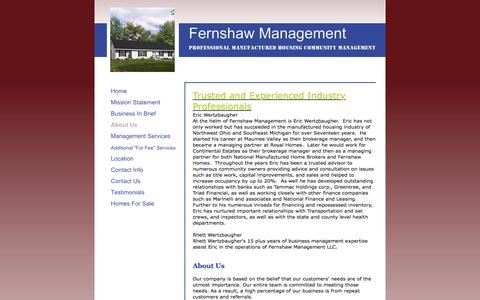 Screenshot of About Page fernshawmanagement.com - Fernshaw Management - About Us - captured Aug. 12, 2018