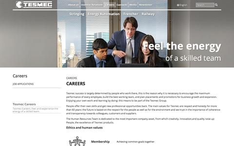 Screenshot of Jobs Page tesmec.com - Tesmec Careers   Tesmec - captured July 17, 2018
