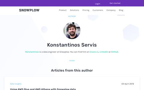 Screenshot of Blog snowplowanalytics.com - Blog – Konstantinos (Kosta) Servis - captured Feb. 10, 2020