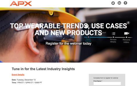 Screenshot of Landing Page pardot.com - Top Wearable Trends Webinar | APX Labs - captured Dec. 13, 2016