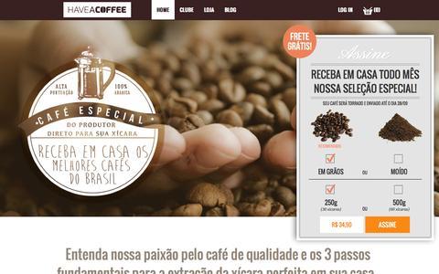 Screenshot of Home Page haveacoffee.com.br - Have a Coffee Serviços de Assinatura de Micro Lotes de Café Especiais - Have a Coffee - captured Oct. 2, 2014