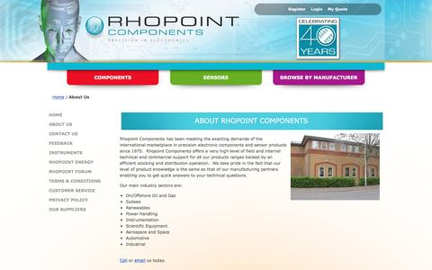 Screenshot of About Page rhopointcomponents.com - About Us - captured Feb. 15, 2016