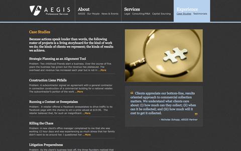 Screenshot of Case Studies Page aegisps.com - Case Studies «  AEGIS Professional Services - captured Oct. 4, 2014