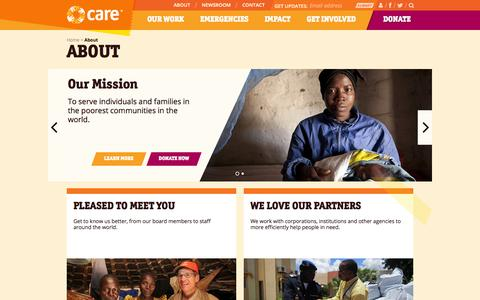 Screenshot of About Page care.org - About | CARE - captured Sept. 25, 2014