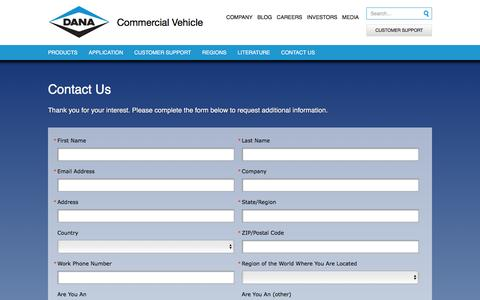 Screenshot of Contact Page dana.com - Contact Us Commercial Vehicle - captured Jan. 18, 2017