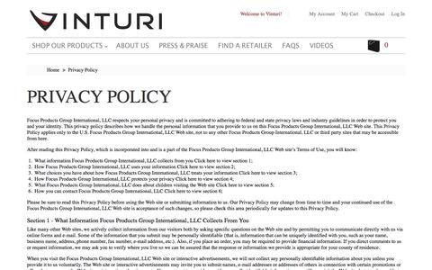 Screenshot of Privacy Page vinturi.com - Privacy Policy - captured Feb. 24, 2016