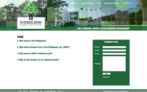 Screenshot of FAQ Page sciencepark.com.ph - SPPI | Faqs - captured Oct. 4, 2014