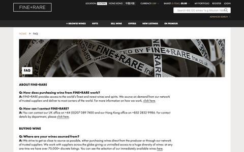 Screenshot of FAQ Page frw.co.uk - FAQs | FINE+RARE - captured Nov. 8, 2018