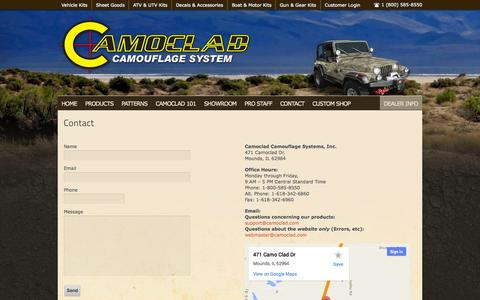 Screenshot of Contact Page camoclad.com - Contact - captured Oct. 1, 2014