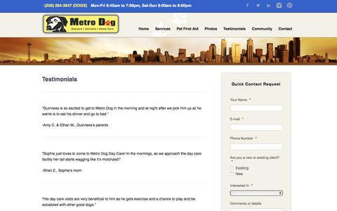 Screenshot of Testimonials Page metrodogseattle.com - Testimonials - captured Nov. 28, 2016