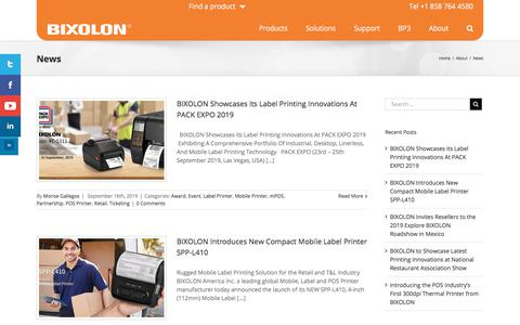 Screenshot of Press Page bixolonusa.com - News - Bixolon USA - captured Oct. 30, 2019