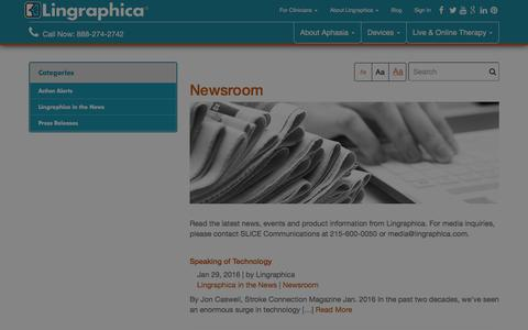 Screenshot of Press Page aphasia.com - Latest On Aphasia | Lingraphica News Lingraphica - captured Jan. 30, 2016