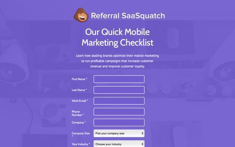 Screenshot of Landing Page referralsaasquatch.com captured Oct. 23, 2016