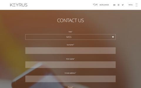 Screenshot of Contact Page keyrus.com - KEYRUS | Contact us - captured Jan. 9, 2016