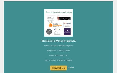 Screenshot of Contact Page omnicoreagency.com - Contact Us - Omnicore Digital Marketing Agency - captured May 22, 2018