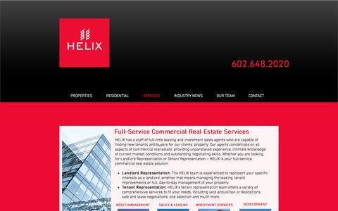 Screenshot of Services Page helixaz.com - Helix Asset Management Services - captured Oct. 5, 2016